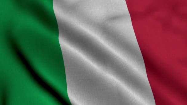 Italy Satin Flag. Waving Fabric Texture of the Flag of Italy, Real Texture Waving Flag of the Italy. 4K Video