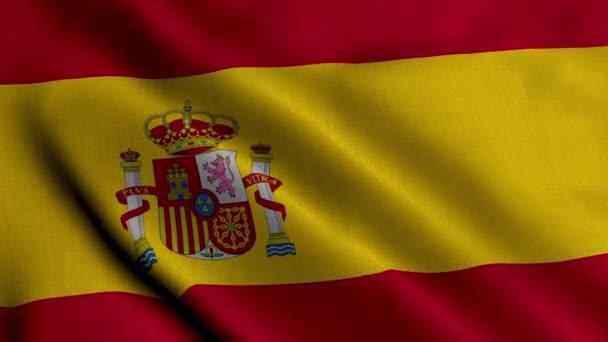 Spanyol szatén zászló. Hullámzó szövet textúra a spanyol zászló, igazi textúra integető zászló a spanyol. 4K videó