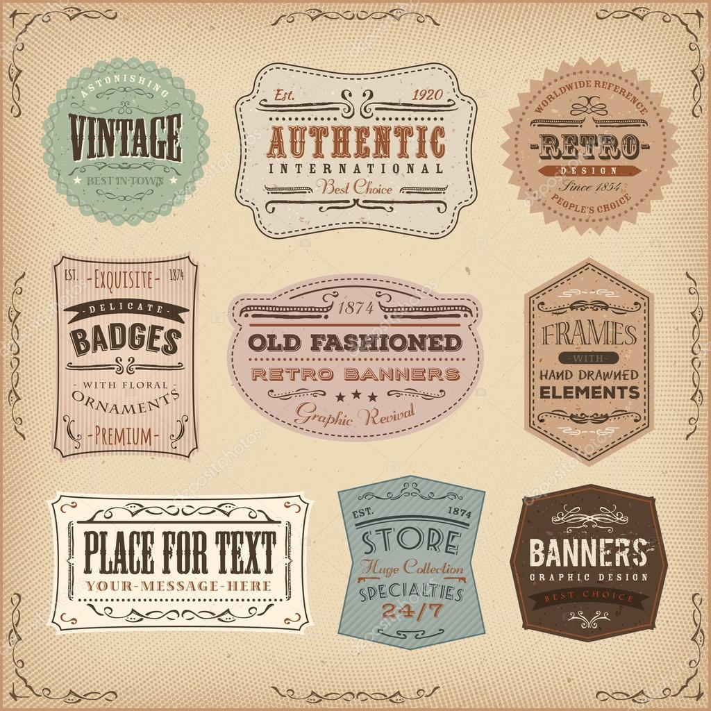 Vintage And Old Fashioned Labels Ans Signs Stock Vector C Benchyb