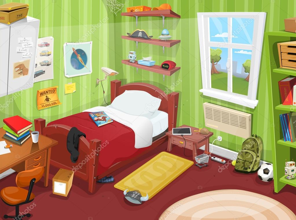 Accessoires Slaapkamer Kind : Sommige kind of tiener slaapkamer u2014 stockvector © benchyb #124304508
