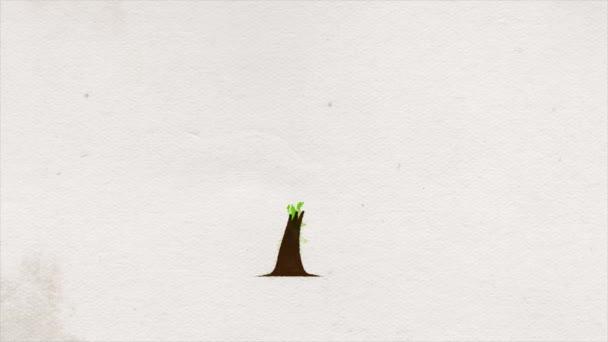 Abstrakte Baum-Ikone Paint Ink Drawing Reveal Animation / 4k Animation eines abstrakten Tusche gemalten Symbolbaums Silhouette Animation Hintergrund