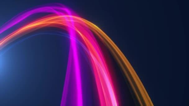 Abstraktní zářící Rainbow Light Energy tahy Pozadí smyčka / 4k animace abstraktního pozadí světlých mnohobarevných paprskových tahů vzory a částice spinning a bezešvé smyčky