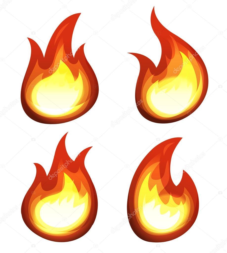 çizgi Film Ateş Ve Alevler Set Stok Vektör Benchyb 54620925