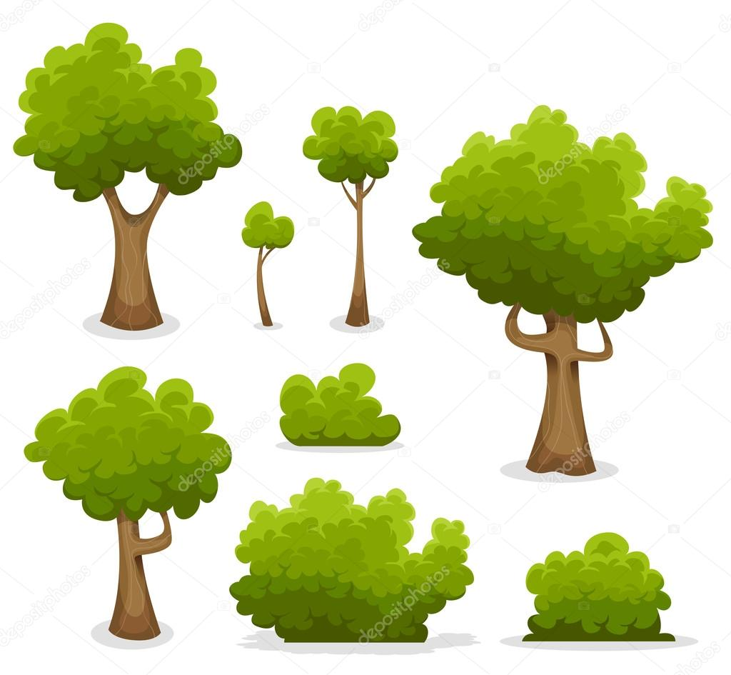Forest Trees, Hedges And Bush Set