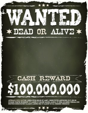 Wanted Vintage Western Poster On Chalkboard