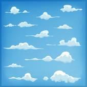 Kreslený mraky na pozadí modré oblohy