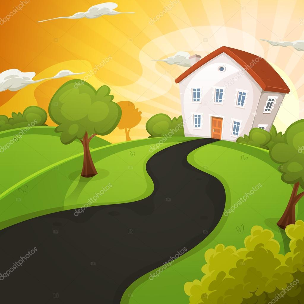 maison d 39 t l 39 int rieur des champs verts au lever du soleil image vectorielle benchyb. Black Bedroom Furniture Sets. Home Design Ideas