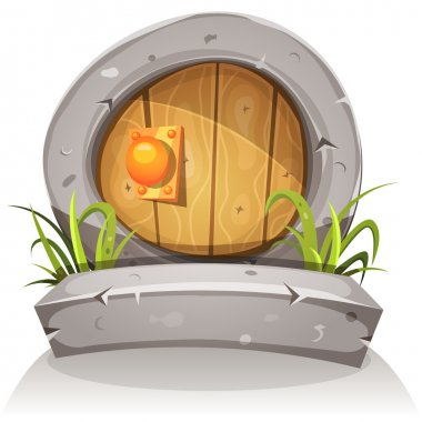 Cartoon Wooden And Stone Hobbit Door For Ui Game