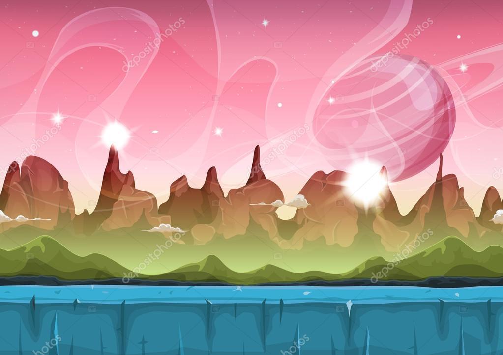 Fairy Sci-fi Alien Landscape For Ui Game