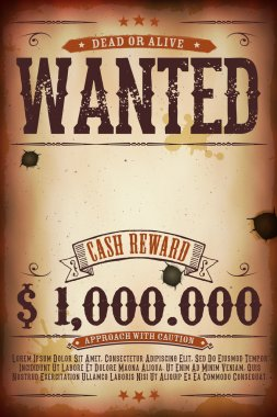 Illustration of a vintage old wanted placard poster template, with dead or alive inscription, cash reward as in far west and western movies stock vector