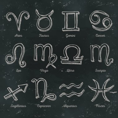 Zodiac Signs On Chalkboard Background