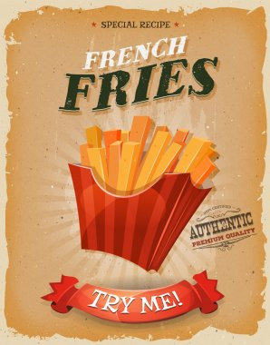 Grunge And Vintage French Fries Poster