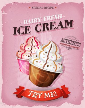 Grunge And Vintage Ice Cream Dessert Poster