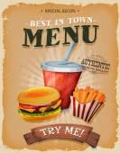 Fotografie Grunge And Vintage Fast Food Menu Poster