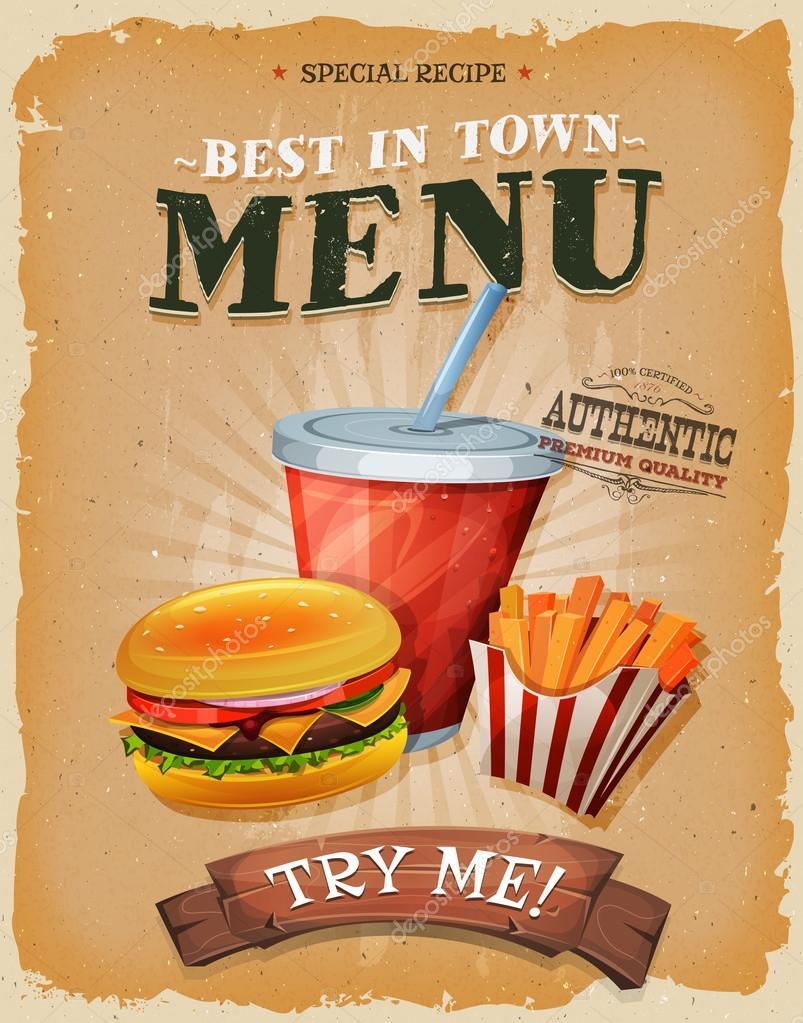 grunge et menu affiche vintage de fast food image. Black Bedroom Furniture Sets. Home Design Ideas