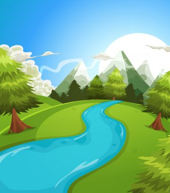 Cartoon Summer Mountains Landscape