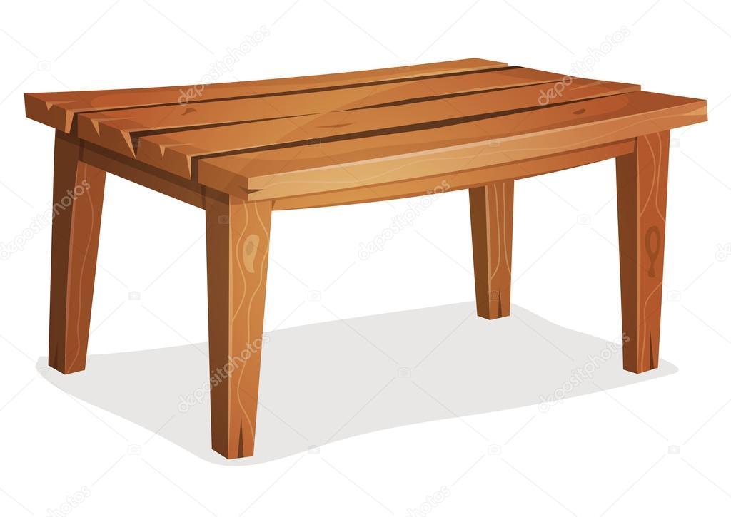 Table en bois dessin animé — Image vectorielle benchyb © #93985872