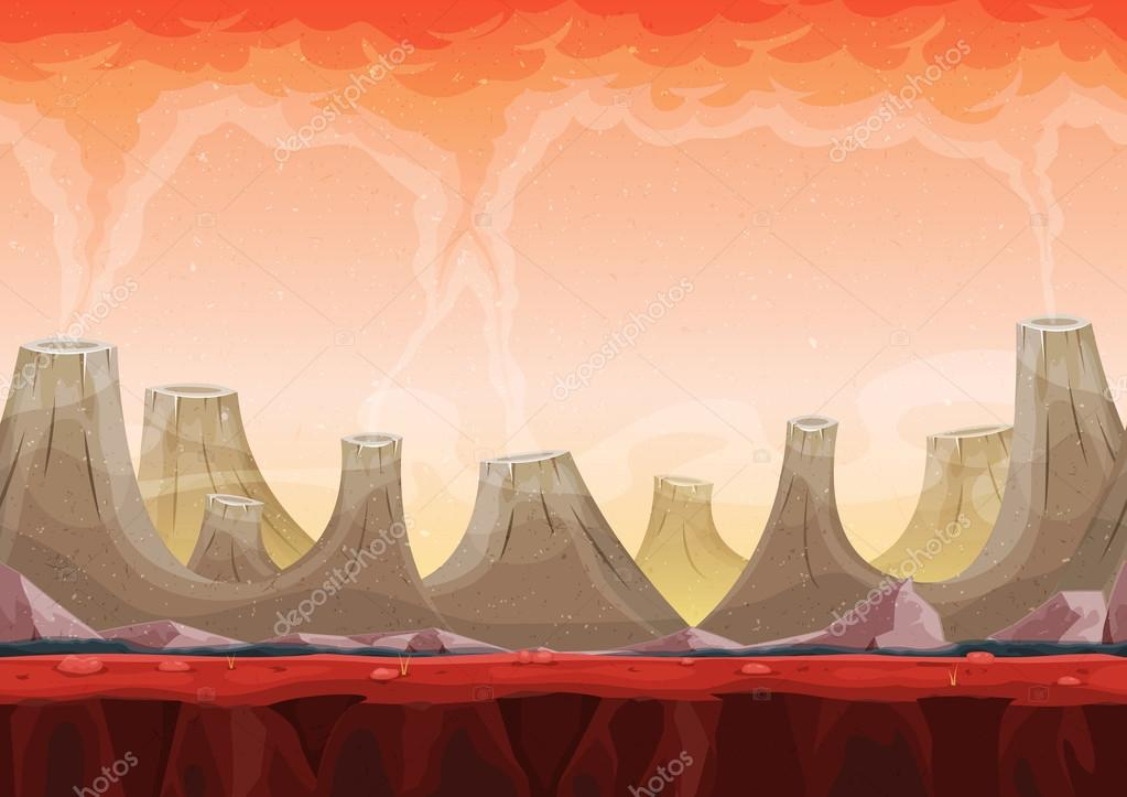 Seamless Volcano Planet Landscape For Ui Game