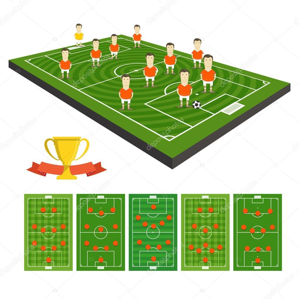 Time de futebol vector clipart com esquemas diferentes de estratégia —  Vetores de Stock d4d7f06dba26f