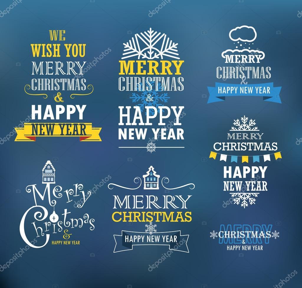Frohe Weihnachten und ein glückliches neues Jahr wünscht. Design ...