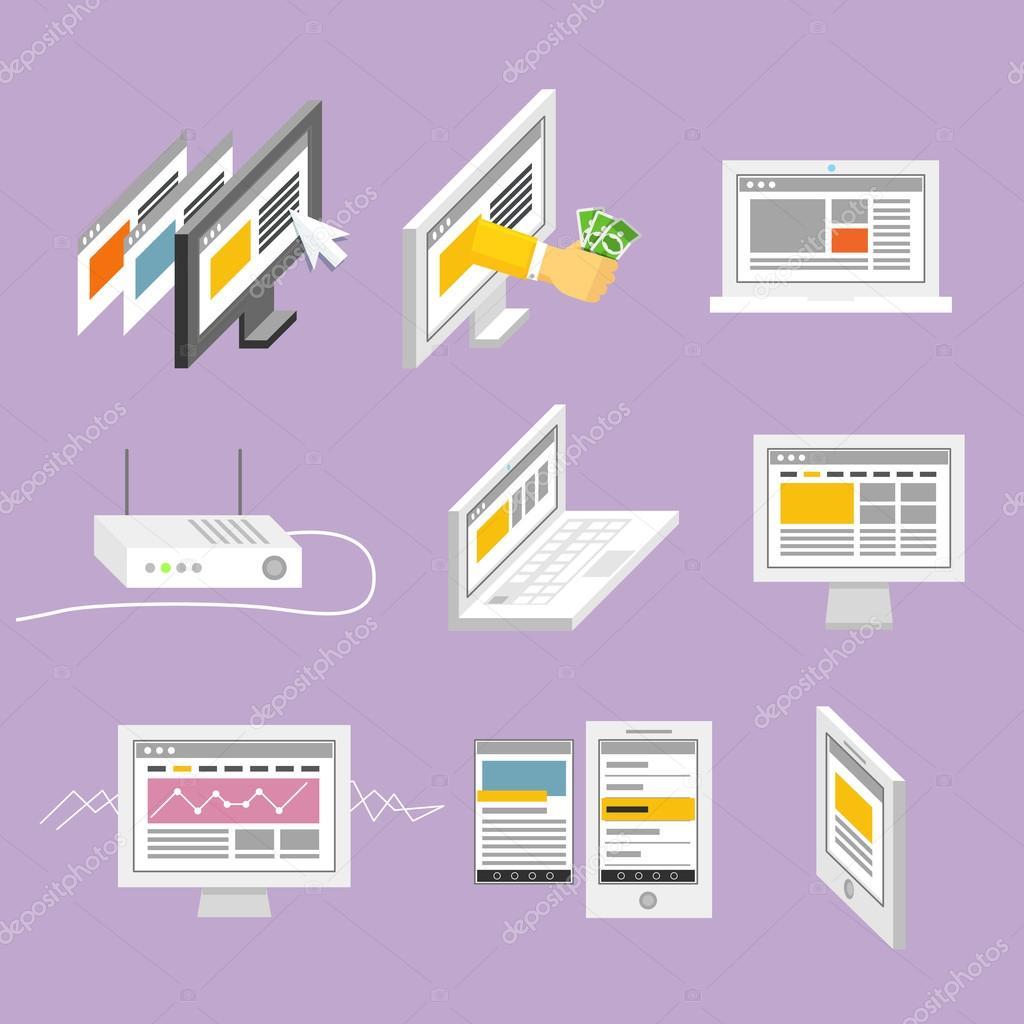 moderne Gadgets und Webseiten-Templates-Auflistung — Stockvektor ...