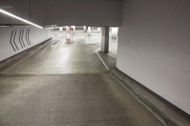 empty driveway in concrete parking garage