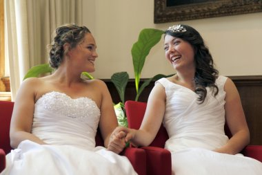 two brides on the verge of getting married