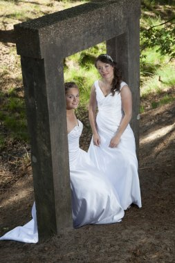 picture of two brides under concrete object in nature surroundin