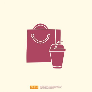 Takeaway meal box with drink cup icon concept. takeaway food silhouette doodle style icon vector illustration icon