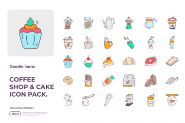 Coffee shop and cake concept doodle icon set. fill color style food Icons sign symbol vector illustration icon