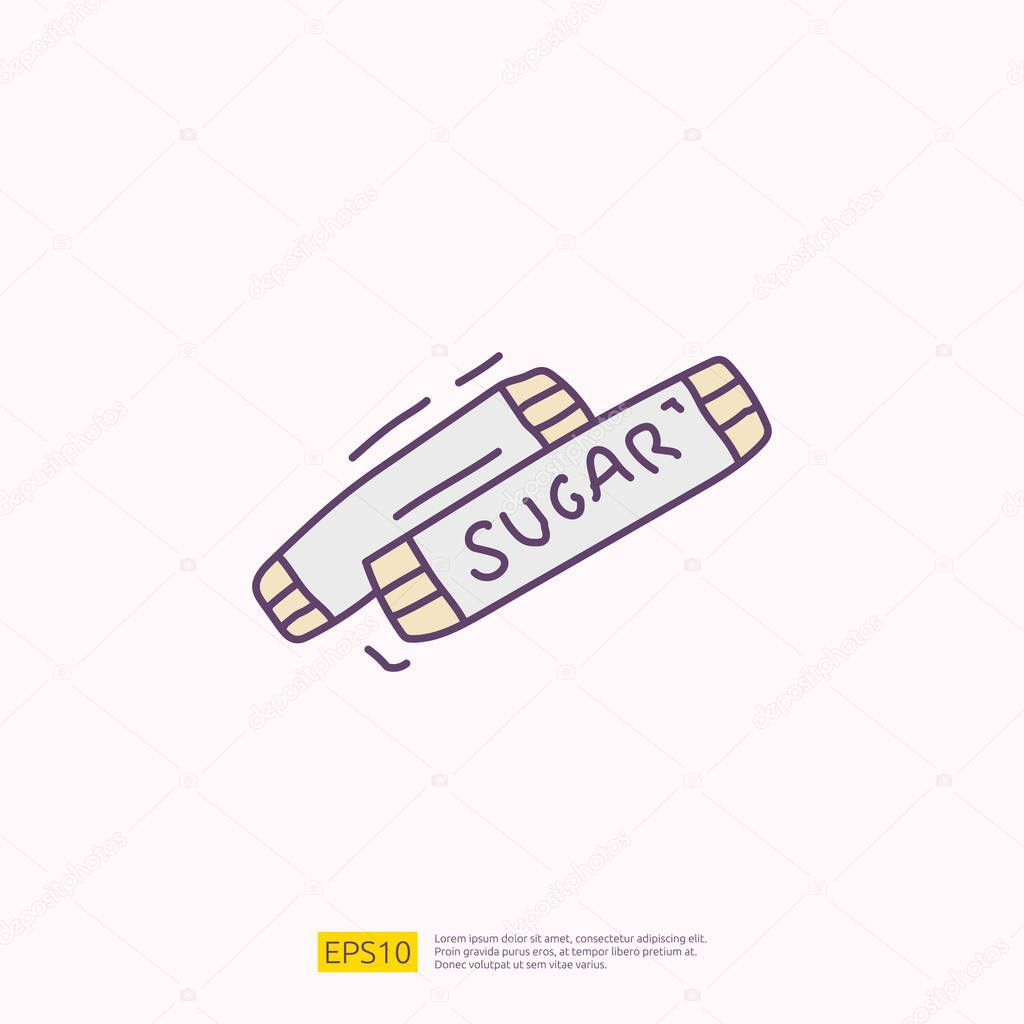 Sugar sachet for cafe concept vector illustration icon