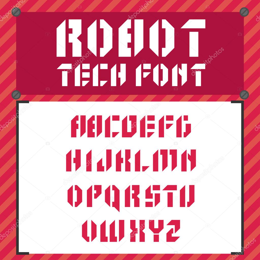 Robotic Font In Flat Style Stock Vector C Mix3r 101114836