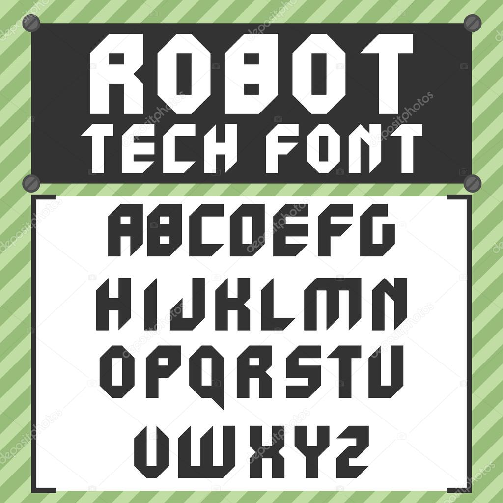 Robotic Font In Flat Style Stock Vector C Mix3r 101114838