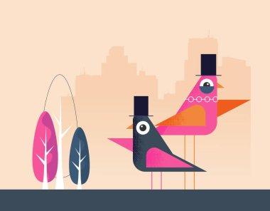 Cute Bird Flat vector design icon