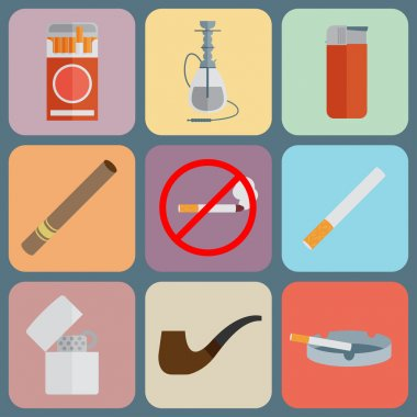 Smoking and accessories icons set.