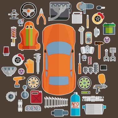 Big set of spare parts for cars