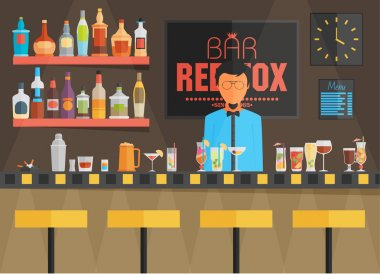 Bar counter with barman, stools and alcohol drink on shelves flat vector illustration stock vector