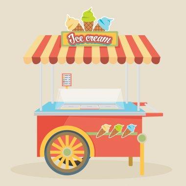 Colorful ice cream cart