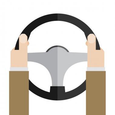 Hands holding steering wheel