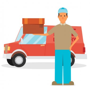 Man postal delivery courier man