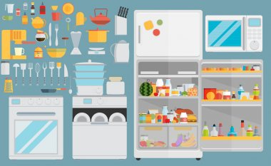 Flat icons for kitchen appliances
