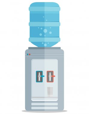 Gray water cooler with blue bottle