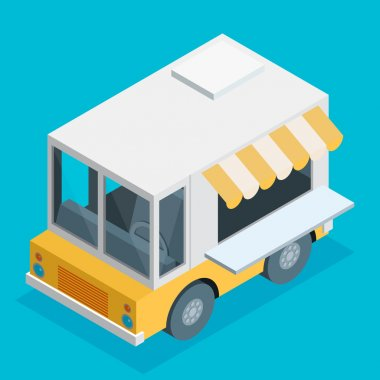 food truck in flat style