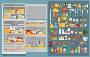 Refrigerator with food,drinks and kitchenware