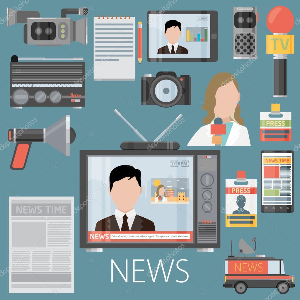 Concept de presse ou reportage tv. Microphone à cause de vieux.