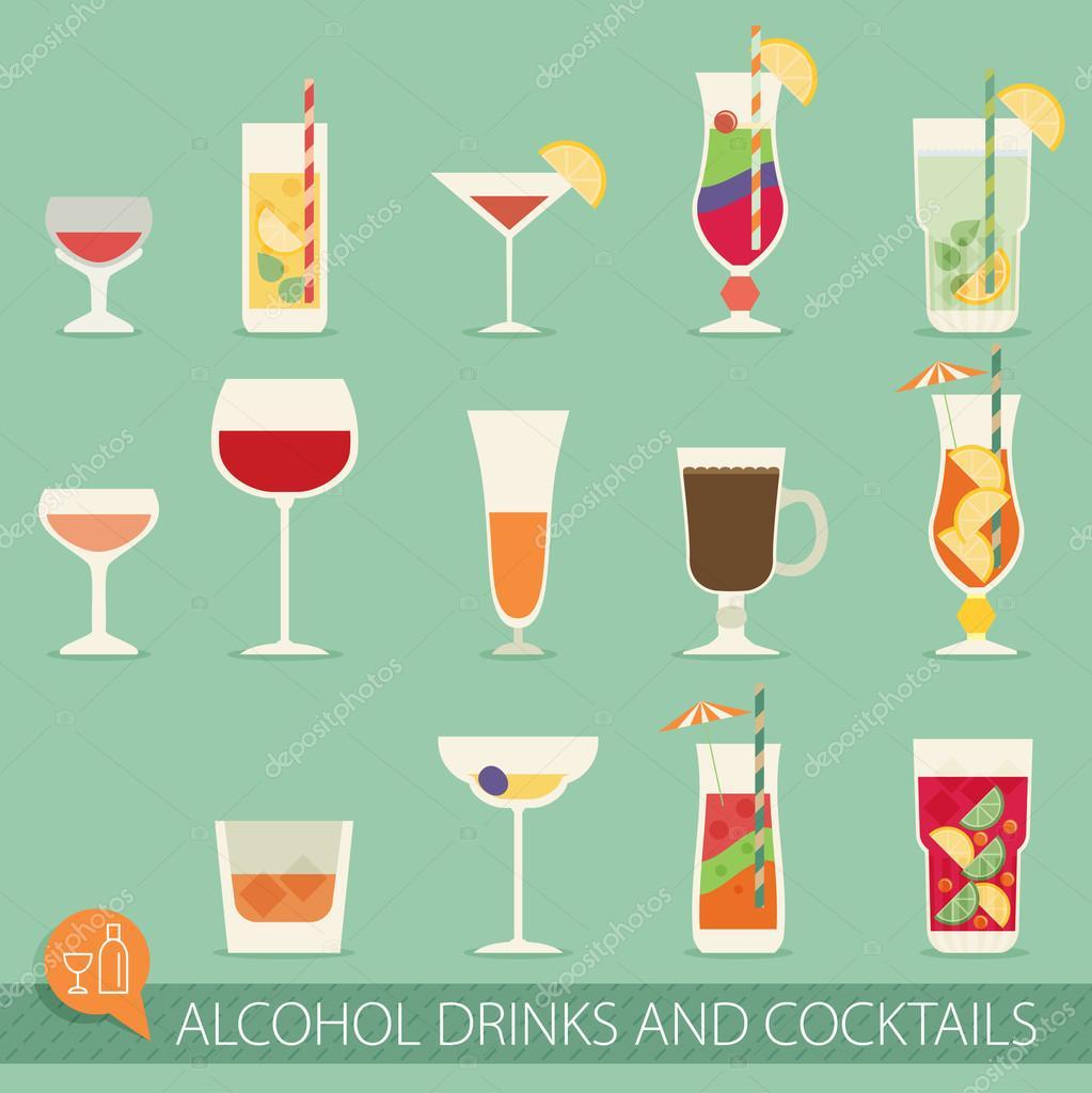 Alkohol-Getränke und Cocktails-Symbole — Stockvektor © Mix3r #98215370