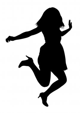 Jumping female silhouette isolated on white background stock vector