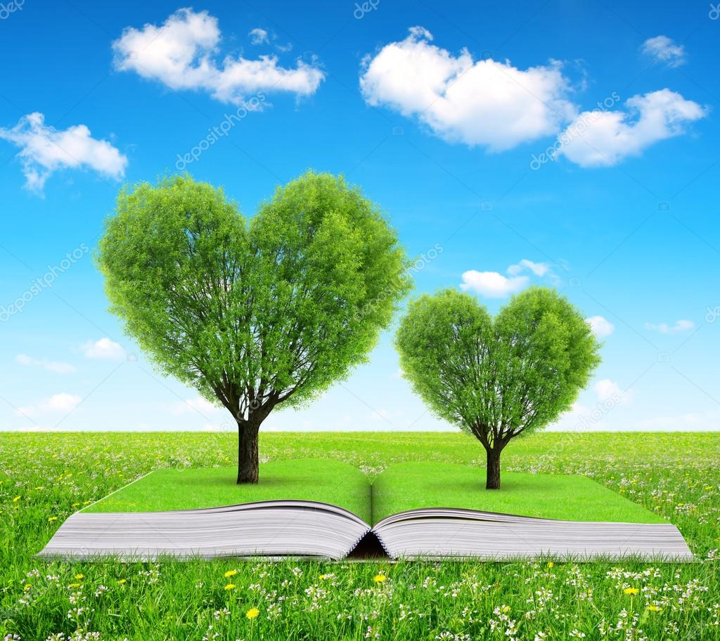 Book with a trees in the shape of heart