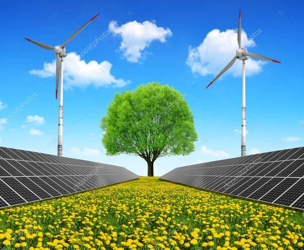 Solar energy panels with wind turbines and tree