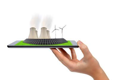 Hand holding tablet with a wind turbines, solar panel and nuclear power plant . Green energy concept. stock vector